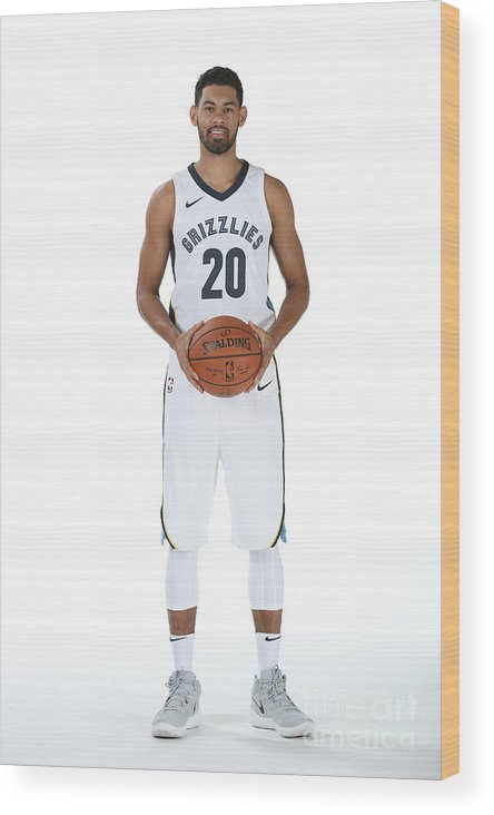 Media Day Wood Print featuring the photograph 2017-2018 Memphis Grizzlies Media Day by Joe Murphy