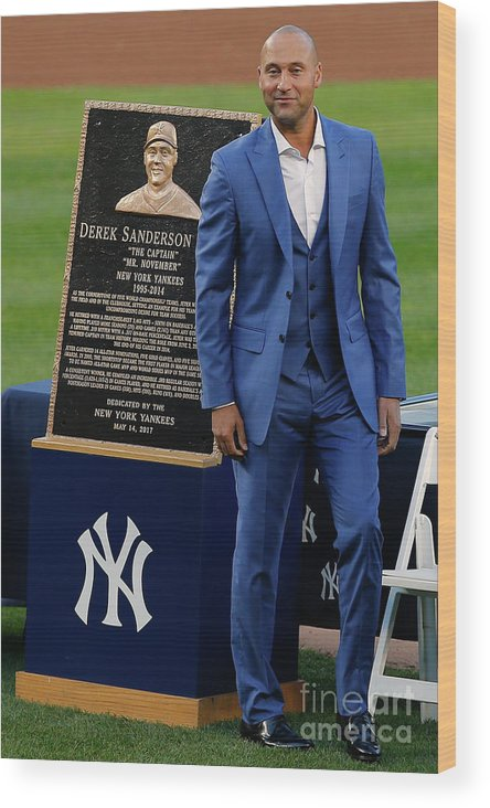 People Wood Print featuring the photograph Derek Jeter Ceremony 4 by Rich Schultz
