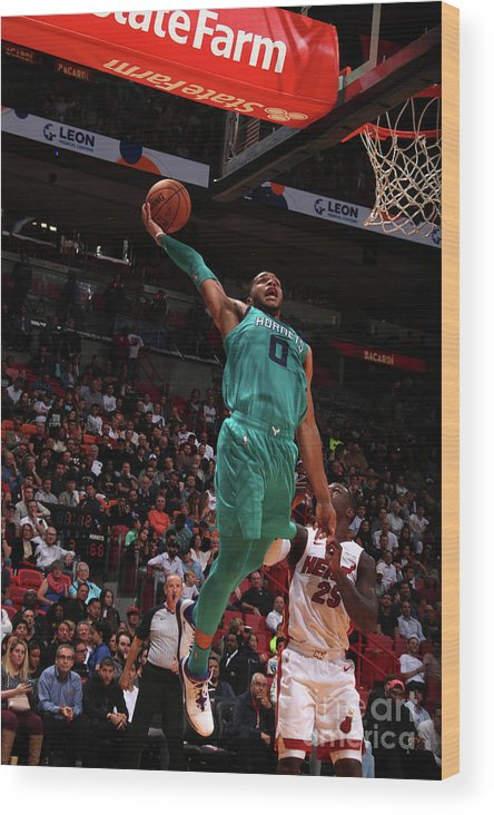 Nba Pro Basketball Wood Print featuring the photograph Charlotte Hornets V Miami Heat by Issac Baldizon