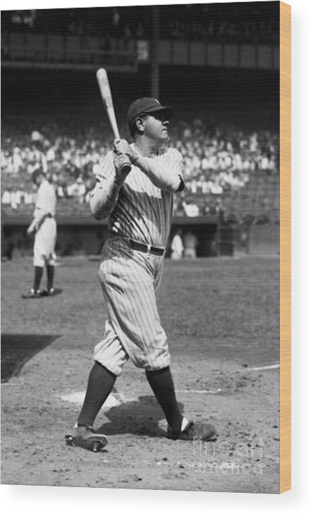 American League Baseball Wood Print featuring the photograph New York Yankees 6 by Kidwiler Collection