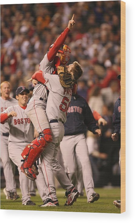 Celebration Wood Print featuring the photograph Boston Red Sox V Colorado Rockies by Brad Mangin