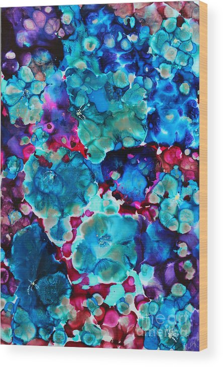 Flowers Hibiscus Hydrangea Bouquet Floral Spring Blue Purple Lavender Turquoise Maroon Red Pink Wood Print featuring the painting Bouquet by Kelly Gowan