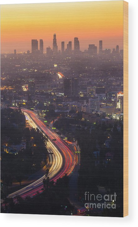 Freeway Wood Print featuring the photograph Downtown Los Angeles Skyline At by F11photo