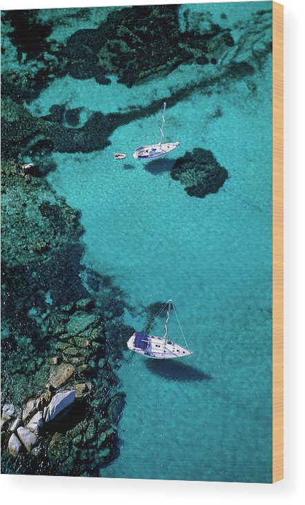 Corse-du-sud Wood Print featuring the photograph France, Corse Du Sud, Boats Anchored In by Rieger Bertrand / Hemis.fr
