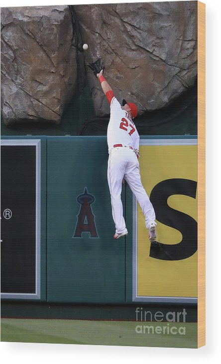People Wood Print featuring the photograph Kansas City Royals V Los Angeles Angels by Sean M. Haffey