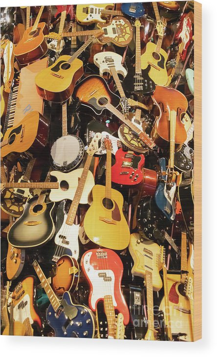 Wingsdomain Wood Print featuring the photograph Mountain Of Guitars R957 by Wingsdomain Art and Photography