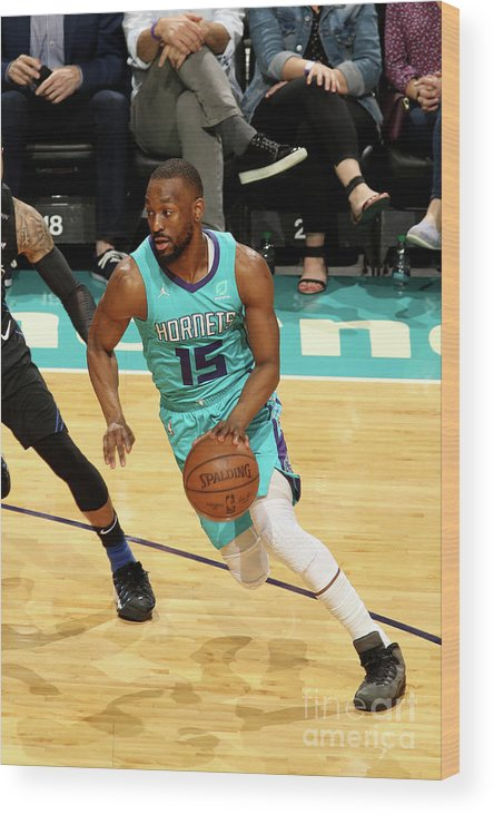 Kemba Walker Wood Print featuring the photograph Orlando Magic V Charlotte Hornets by Brock Williams-smith