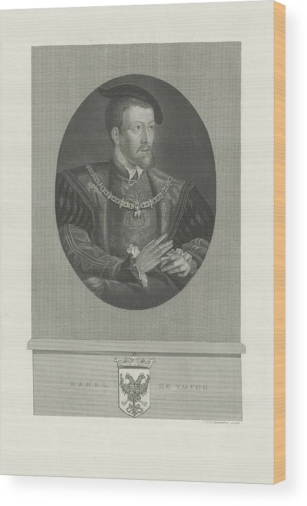 Emperor Wood Print featuring the painting Portrait Of Charles V, Jan Frederik Christiaan Reckleben, 1847 - 1849 by Jan Frederik Christiaan Reckleben