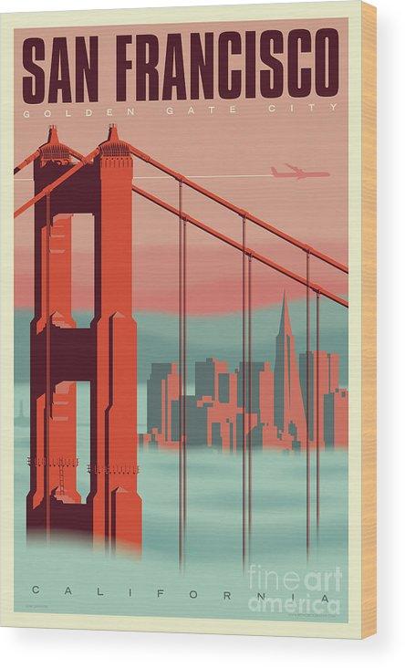 Mid Century Modern Wood Print featuring the digital art San Francisco Poster - Vintage Travel by Jim Zahniser