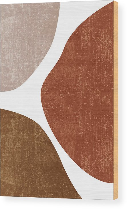 Terracotta Wood Print featuring the mixed media Terracotta Art Print 1 - Terracotta Abstract - Modern, Minimal, Contemporary Abstract - Brown, Beige by Studio Grafiikka
