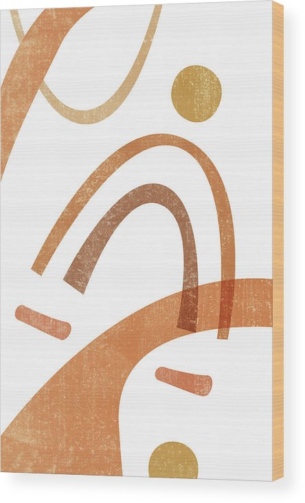 Terracotta Wood Print featuring the mixed media Terracotta Art Print 8 - Terracotta Abstract - Modern, Minimal, Contemporary Print - Abstract Shapes by Studio Grafiikka