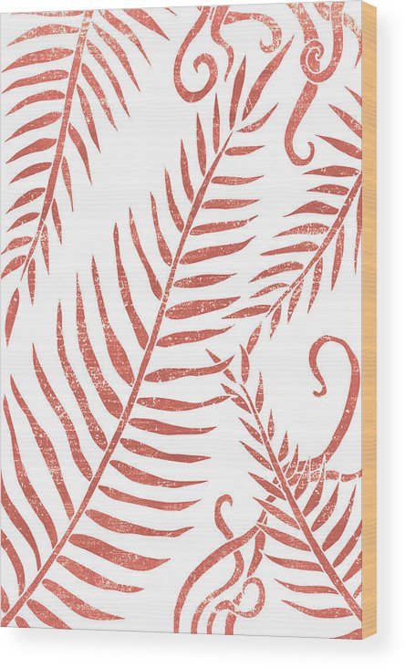 Terracotta Leaves Wood Print featuring the mixed media Terracotta Leaves - Terracotta Abstract Print - Modern, Minimal, Contemporary Abstract - Tropical by Studio Grafiikka