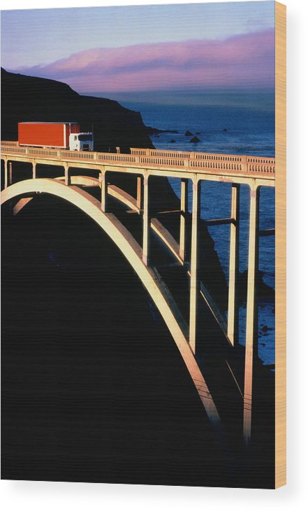 Outdoors Wood Print featuring the photograph Truck Crossing Bigsby Bridge,big by Terry Vine