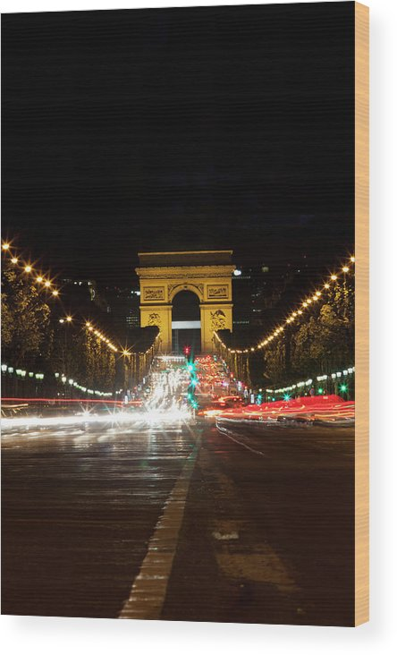 Built Structure Wood Print featuring the photograph View Along Avenue Des  Champs Elysees At by Chris 92b1d4e924ab0
