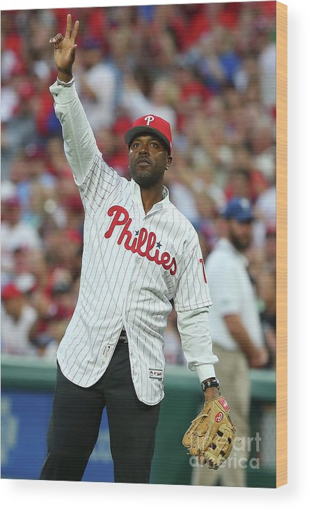 Three Quarter Length Wood Print featuring the photograph Jimmy Rollins by Rich Schultz