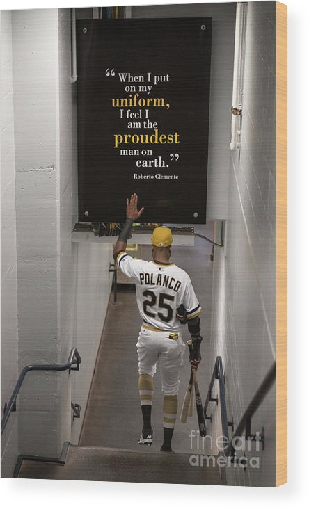People Wood Print featuring the photograph Roberto Clemente And Gregory Polanco by Justin Berl