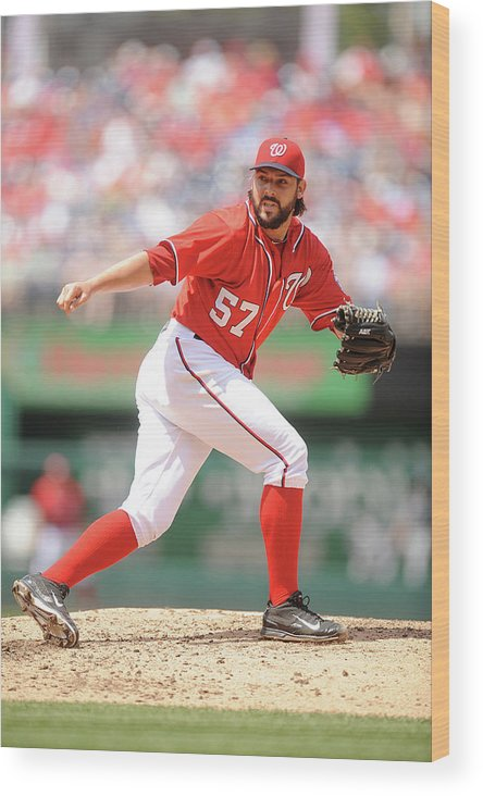 Baseball Pitcher Wood Print featuring the photograph Tanner Roark by Mitchell Layton