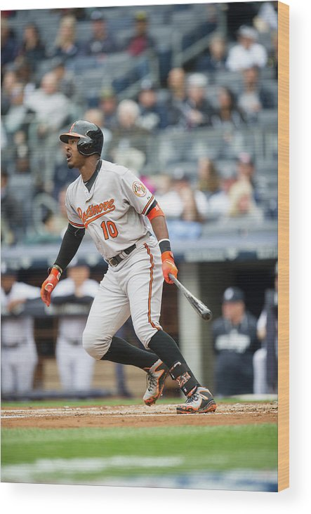 American League Baseball Wood Print featuring the photograph Adam Jones by Rob Tringali