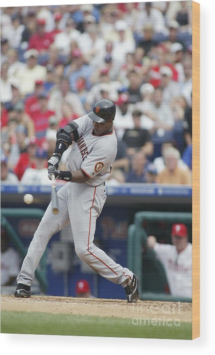 Motion Wood Print featuring the photograph Barry Bonds by Rob Leiter