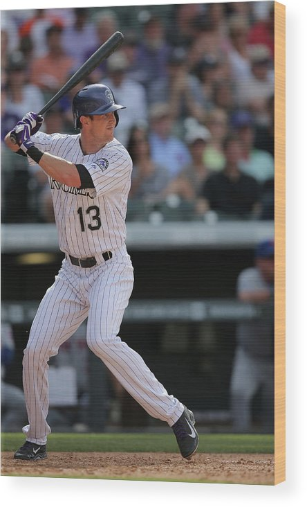 National League Baseball Wood Print featuring the photograph Drew Stubbs by Doug Pensinger