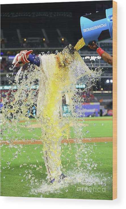 Ninth Inning Wood Print featuring the photograph Elvis Andrus And Joey Gallo by Rick Yeatts