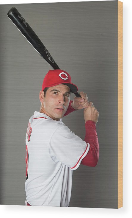 American League Baseball Wood Print featuring the photograph Joey Votto by Mike Mcginnis