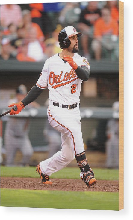 American League Baseball Wood Print featuring the photograph Nick Markakis by Mitchell Layton