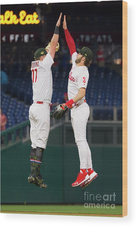 People Wood Print featuring the photograph Rhys Hoskins And Bryce Harper by Mitchell Leff