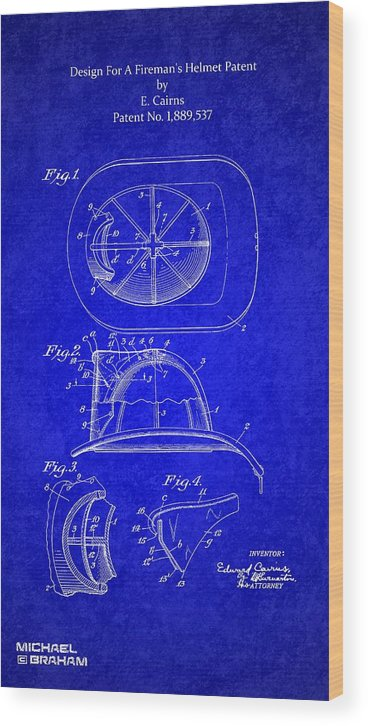 Cairns Wood Print featuring the photograph Vintage 1932 Firemans Helmet Patent by Doc Braham