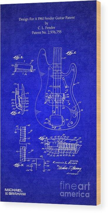 Fender Wood Print featuring the digital art 1961 Fender Guitar by Doc Braham