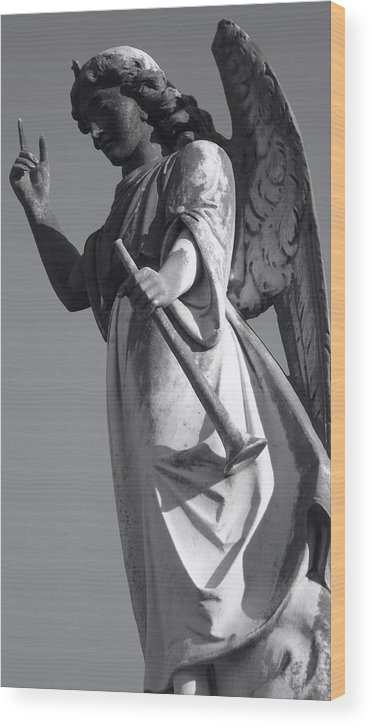 Gabriel Wood Print featuring the photograph Angel Gabriel With Trumpet by Julie Lee
