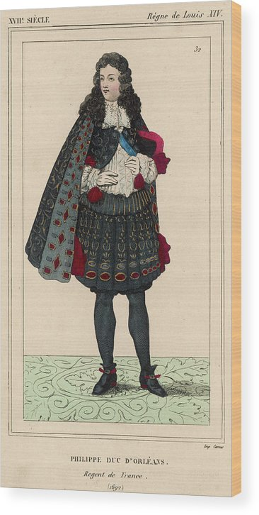 Orleans Wood Print featuring the drawing Philippe, Duke Of Orleans French by Mary Evans Picture Library