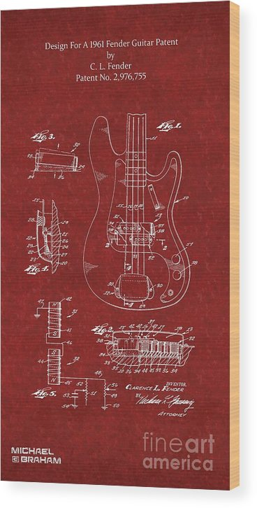 Fender Wood Print featuring the photograph Vintage 1961 Fender Guitar Patent by Doc Braham