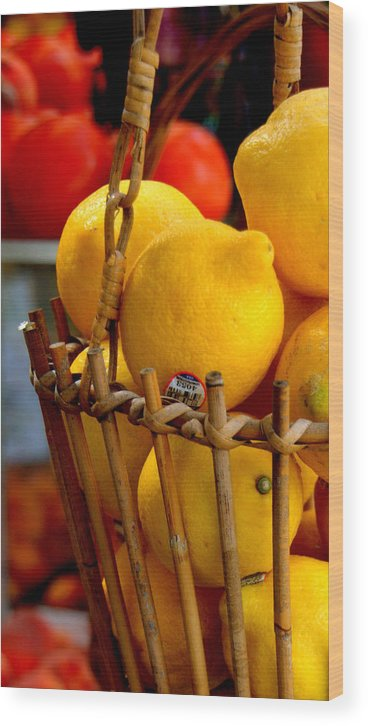 Fruits Wood Print featuring the photograph Lemons by Caroline Stella