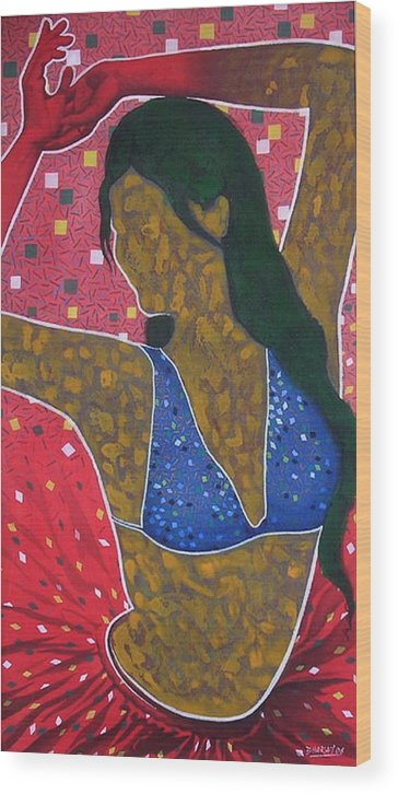 Female Wood Print featuring the painting Floating Fantancy 7 by Bharat Gothwal