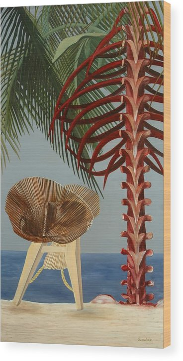 Beach Wood Print featuring the painting Rest In Peace by Sunhee Kim Jung