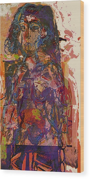 Cubist Wood Print featuring the painting Seated Woman by Noerdin Morgan