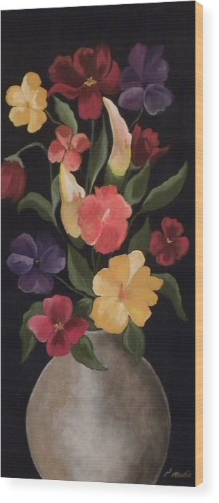 Floral Wood Print featuring the painting Blooms Of Spring by Peggy Martin