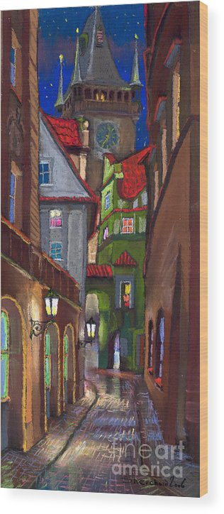 Pastel Wood Print featuring the painting Prague Old Street by Yuriy Shevchuk