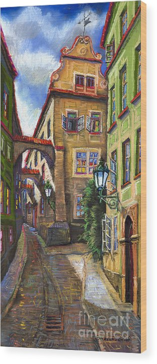 Prague Wood Print featuring the painting Prague Old Street by Yuriy Shevchuk