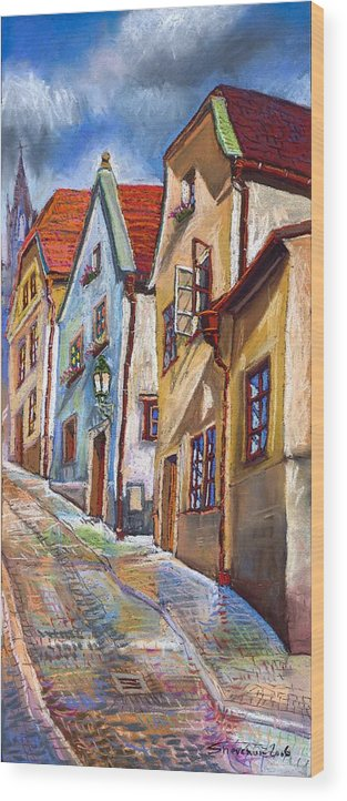 Pastel Chesky Krumlov Old Street Architectur Wood Print featuring the painting Cesky Krumlov Old Street 2 by Yuriy Shevchuk