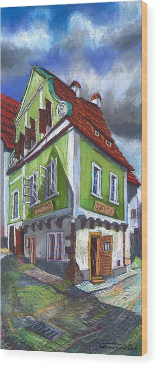 Pastel Chesky Krumlov Old Street Cityscape Realism Architectur Wood Print featuring the painting Cesky Krumlov Old Street 3 by Yuriy Shevchuk