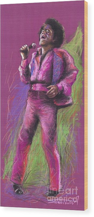 Jazz Wood Print featuring the painting Jazz James Brown by Yuriy Shevchuk