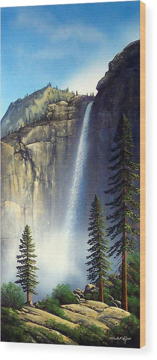 Landscape Wood Print featuring the painting Majestic Falls by Frank Wilson
