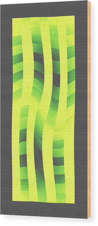 Moveonart! Global Gathering. -- Digital Abstract Art By Jacob Kane -- Omnetra Wood Print featuring the digital art Moveonart Yellowlimegreenwave by Jacob Kanduch