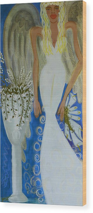Angel Artwork Wood Print featuring the painting Peace And Love Angel by Helen Gerro