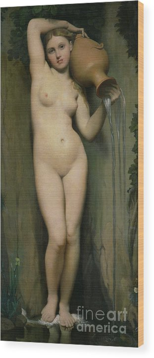 Nude Wood Print featuring the painting The Source by Ingres