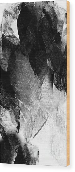 Diamond Wood Print featuring the painting Black White Grey Abstract 1 by Vesna Antic