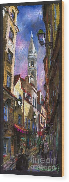 Pastel Wood Print featuring the painting Paris Montmartre by Yuriy Shevchuk
