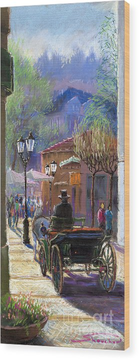 Pastel Wood Print featuring the painting Germany Baden-baden Spring Ray by Yuriy Shevchuk